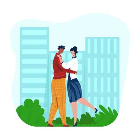 Vector young couple in love hugging and admiring each other on background of city, park. Concept love, emotions, attachment, contact, interaction. It can be used in web design, banners, etc.
