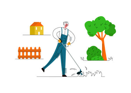 Vector flat illustration man who levels lawn with lawn manual mower. Mow grass. Concept care for garden plot, garden works and equipment. It can be used in web design, banners, etc.
