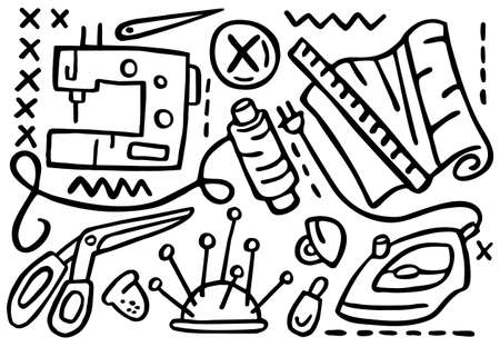 Doodles in form of elements for sewing. Stock Illustratie