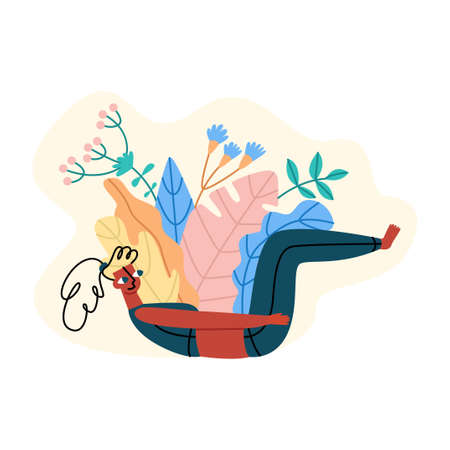 Healthy lifestyle, Pilates, warm up at home. Illustration