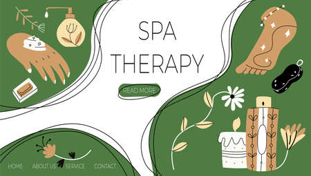 Vector illustration with layout landing page, home page on topic Spa therapy. Elements for taking care body are shown against background of button templates, labels.
