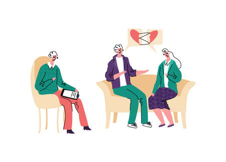 Vector illustration with reception psychotherapy for married couple who are in period of conflicts and problems. Patients come to an agreement.
