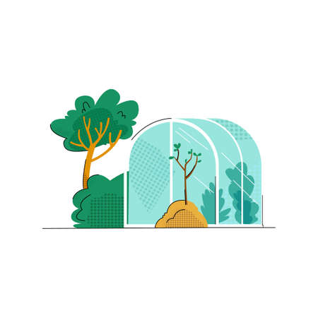 Vector flat illustration with image of greenhouse, tree planted in ground. Concept gardening, farming, natural, home production, plant care, landscaping of site.
