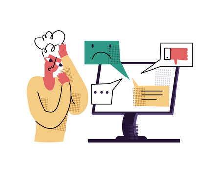 Vector flat illustration with concept bullying, aggression, anger in comments, social networks, online. Image shows woman who is scared and worried about bad, aggressive responses comments in form of emotions.