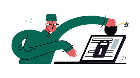 Vector flat abstract illustration concept of doxing, cyber security, software, hacking, pwned, antivirus, secure web traffic. Hacker, personal data thief, is depicted.