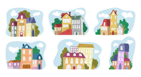 Vector illustration with set, collection of houses. concept architecture, housing. Vektorgrafik