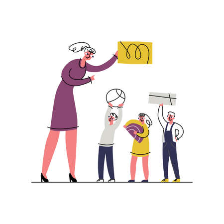 Vector flat illustration concept children s development, creativity, learning, individuality, self activity. It shows female educator, teacher holding abstract figure, children also hold their objects