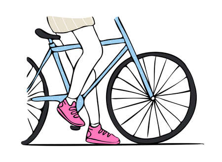 Drawn isolated vector illustration with legs of cyclist. Concept sports and casual shoes.