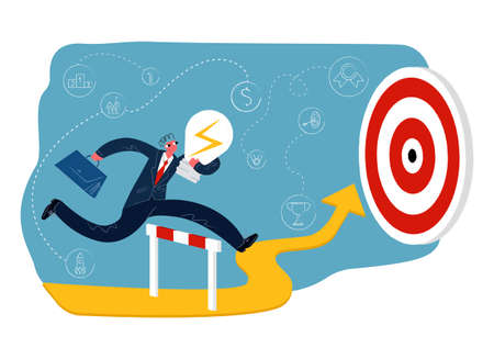 Vector flat illustration metaphor businessman with light bulb in his hand, briefcase. He jumps over obstacle, runs along abstract arrow up to goal. Background symbols success. Illustration