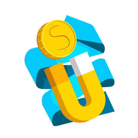 Vector cartoon isolated illustration metaphor with larger magnet, gold coin. White background with blue folded ribbon. Concept attraction, income, attraction, profit.