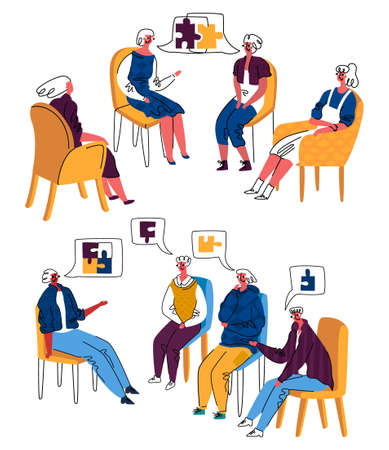 Vector illustration group psychotherapy session among women, men. They share problems, everyone solves them for themselves, help psychotherapist. This is shown symbolically in form assembled puzzle.