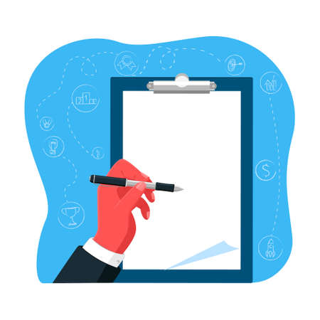 Vector illustration of metaphor with hand writing on tablet sheet. There is empty space for text. Business elements are in background. Concept presentation, design, success.