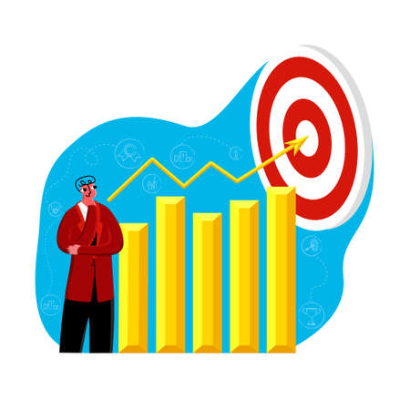 Vector illustration metaphor thoughtful character, businessman on background of diagram, graph, up arrow pointing to goal. Business elements and symbols. Concept development, success, achievements.