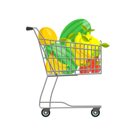 Vector isolated illustration with grocery cart containing fruits, berries. Watermelons, apples, pears, lemons, bananas, and melons are depicted here. Concept of organic, natural food.