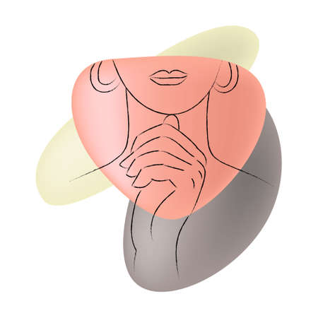Vector isolated image drawn part of female face.
