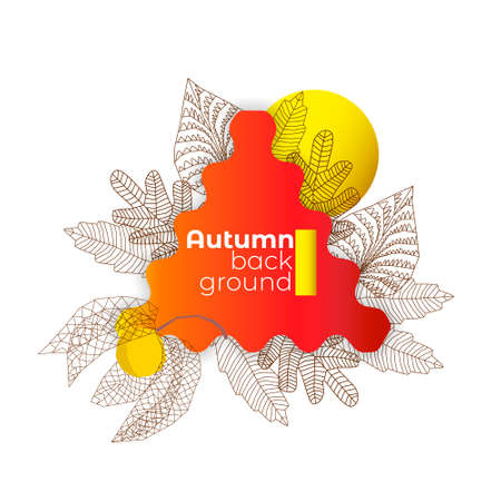 Image with an abstract frame on theme of autumn.