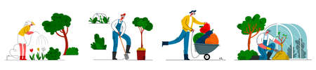 Vector flat set of characters working on farm, in garden, country. They water flowers, transplant plants, dig, plant seedlings, transport the collected fruits of vegetables, fruits in a cart.