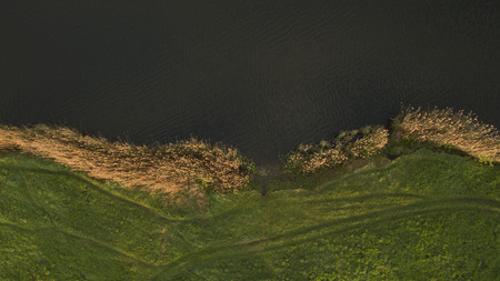stakes: Beautiful river picture top view shot from the drone