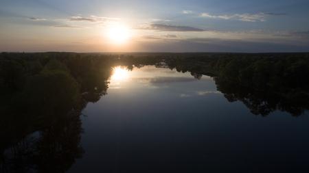 美しい川は、無人で撮影。上からの眺め。 写真素材