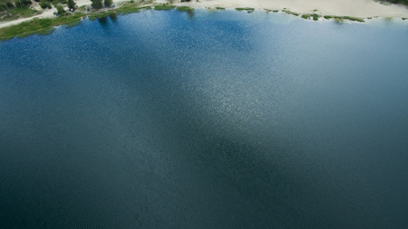 Beautiful lake top view shot from the drone