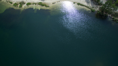 Beautiful river top view shot from the drone Stock Photo