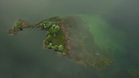 bogs: Beautiful island scenery shot from the drone Stock Photo