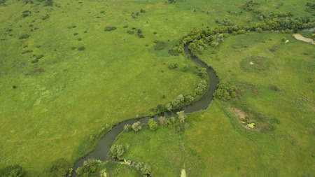 Landscape of a meandering river aerial survey