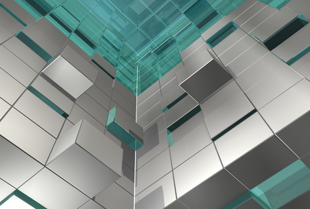 pushed: abstract 3d cubes
