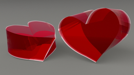 Red hearts on a gray background 3d