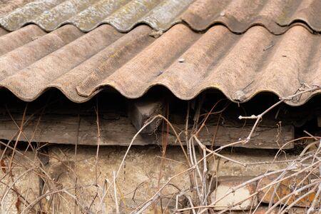 old slate tile on a house close-up