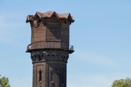 wooden water tower in the Dnieper city as a historical building from the time of construction