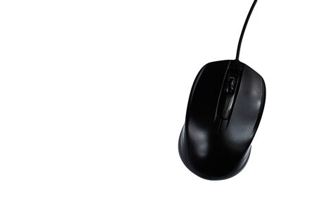 black wired computer mouse on white Standard-Bild