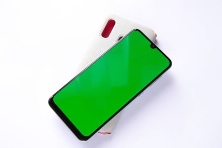 phone with a green screen and case Stok Fotoğraf
