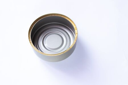 clean empty tin can on white background Stock Photo