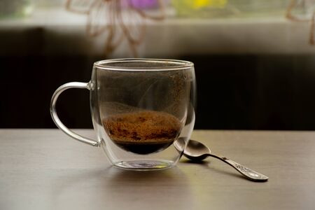 glass transparent dirty coffee cup stands