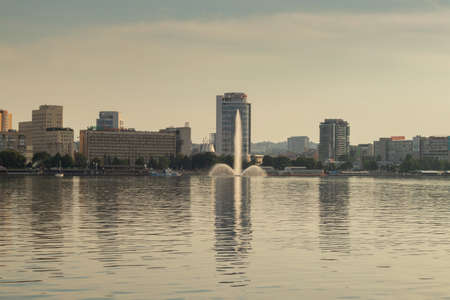 Dnieper city on fonee fountain from the water view from