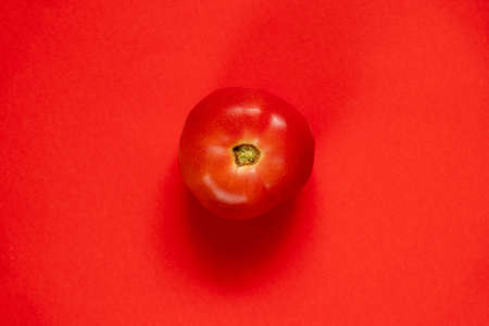 red tomato on isolated red background close up