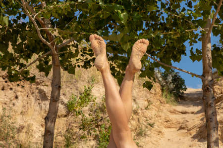 slender legs of a young girl on a background of green trees in the shape of the letter v Stock fotó