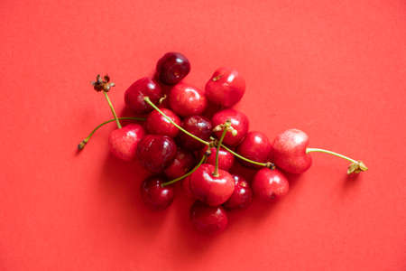 ripe red cherry on isolated background Stock fotó