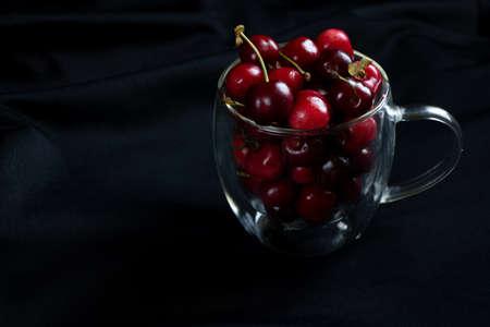 full cup with cherries, sweet cherries