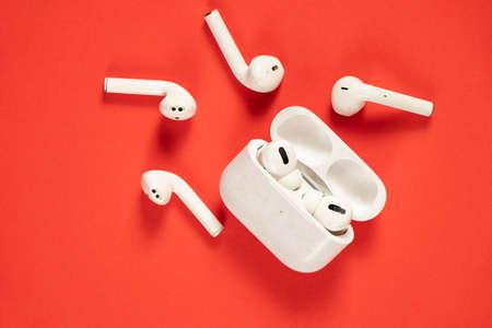 white wireless headphones on isolated background, wireless Stock fotó