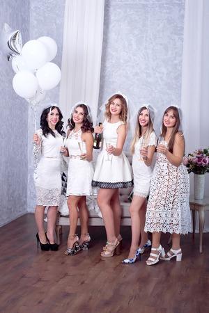 a788af1675 Smiling Girlfriends Having Fun Celebrating Bachelorette Party Fotos ...
