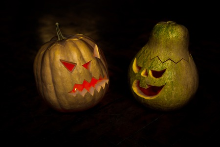 Couple of Halloween pumpkins head jack lantern