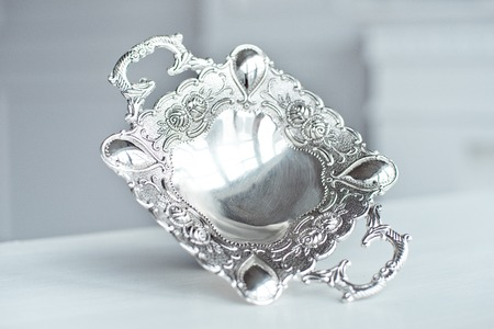 Vintage antique Pedestal Silver Plate Candy Condiment Dish Stock Photo