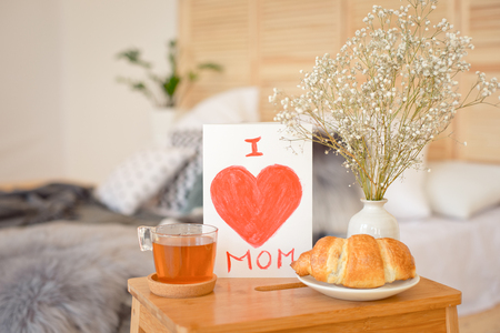 Mothers Morning breakfast on wooden tray. Stock Photo