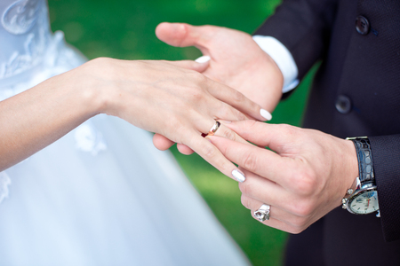 Close-up Bride and grooms hands with wedding rings