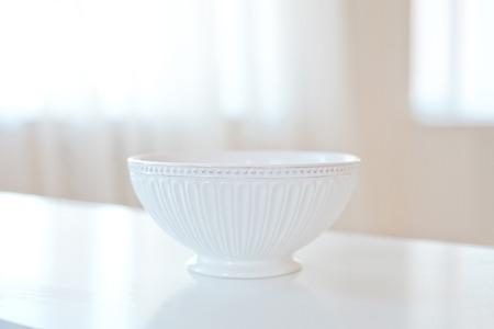 Set of white ceramic kitchen utensils Stock Photo