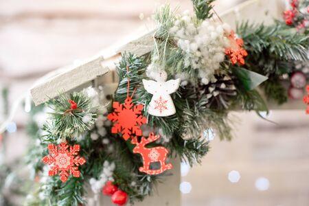 Christmas decoration.Christmas decoration background, Christmas tree and holidays ornament.