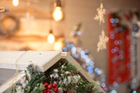 Christmas decoration.Christmas decoration background, Christmas tree and holidays ornament Фото со стока