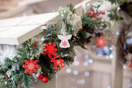 Christmas decoration.Christmas decoration background, Christmas tree and holidays ornament 版權商用圖片